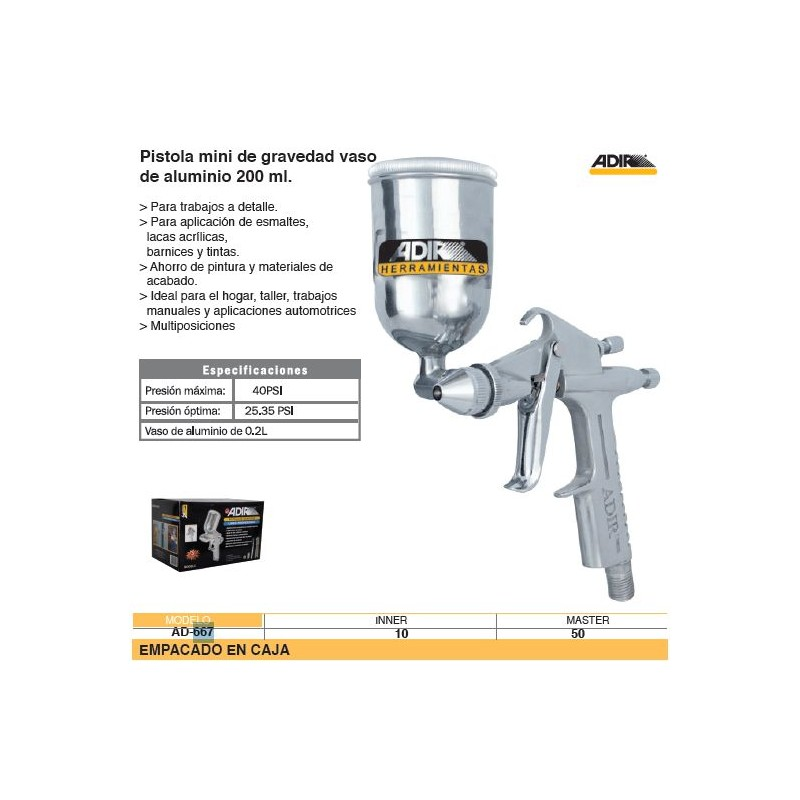 Mini pistola de gravedad adir baja presion 667 - Pintar a pistola ...