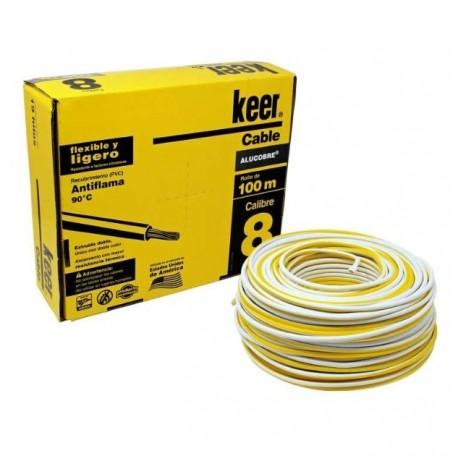 Caja de cable THW calibre 8 AWG blanco Keer 100 mts