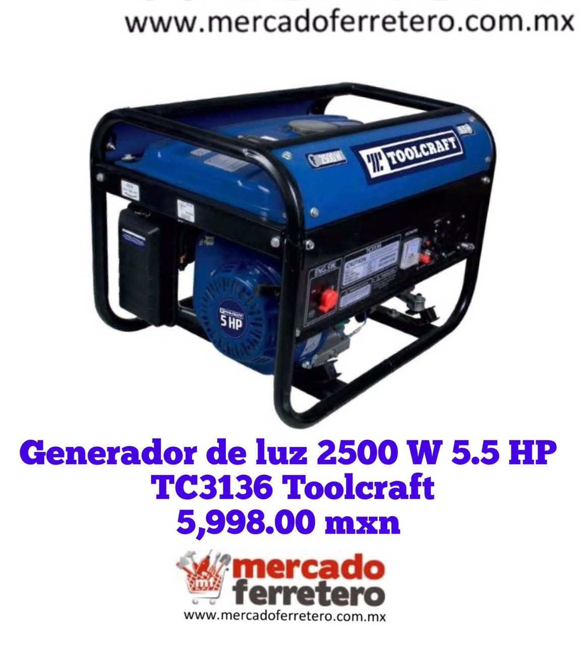 GENERADOR TOOLCRAFT TC3136 2500 W 5.5 HP