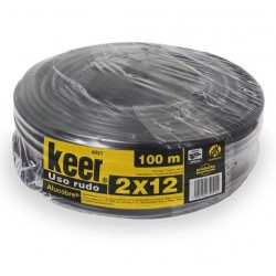 Cable Uso Rudo 2x12 THW Marca Keer, Rollo 100 mts