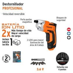 DESTORNILLADOR INALAMBRICO 3.6 V BATERIA ION LITIO TRUPER