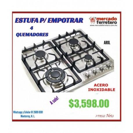 Estufa Empotrable  a gas Arol P-IN4Q59 acero inoxidable