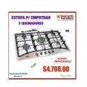 ESTUFA PARA EMPOTRAR 5 QUEMADORES ACERO INOXIDABLE AROL IN5Q86