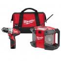 Milwaukee Kit taladro destornillador 2 pilas radio y maleta  2492-22