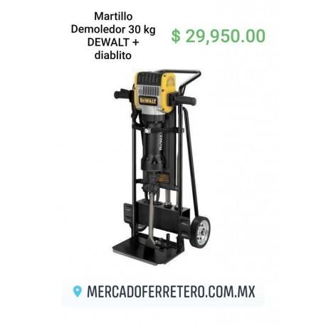 Martillo demoledor 30 KG D25980 Dewalt + diablito de carga